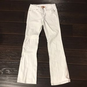 Tory Burch White Distressed Bootcut Jeans sz 26